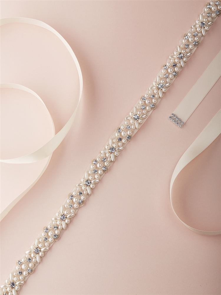 Ivory Pearl and Austrian Crystal Bridal Belt with Ribbon <br>4614BT-I-S