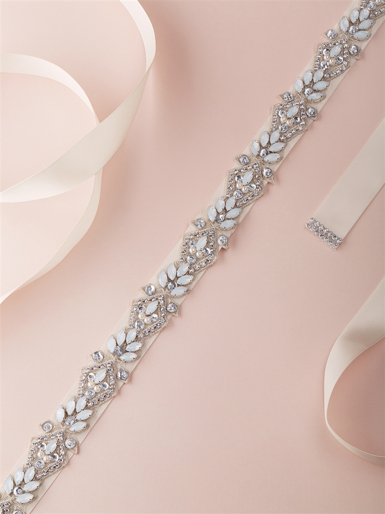 Silver Applique Bridal Belt with White Opals, Ivory Pearls & Austrian Crystal with Ivory Ribbon<br>4615BT-I-S
