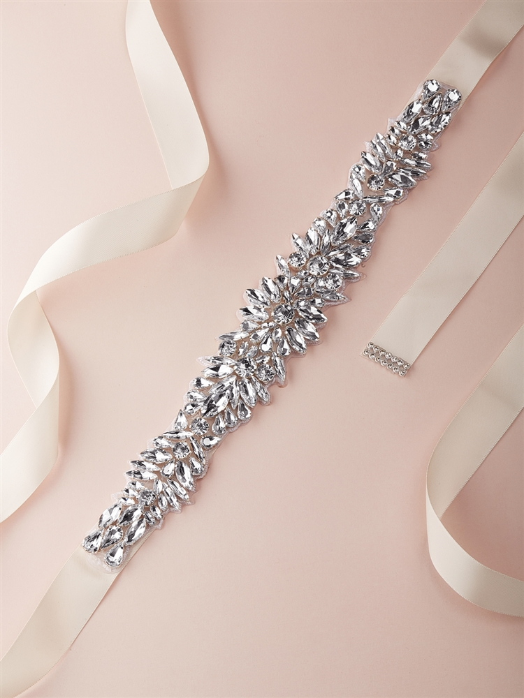 Silver Bridal Belt with Austrian Crystal Sunbursts on Ivory Ribbon<br>4617BT-I-S