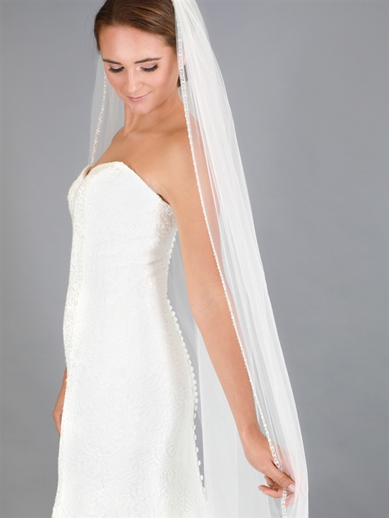 Rhinestone Edge Cathedral Bridal Veil with Pearls, Beads & Crystals - Ivory<br>4618V-I