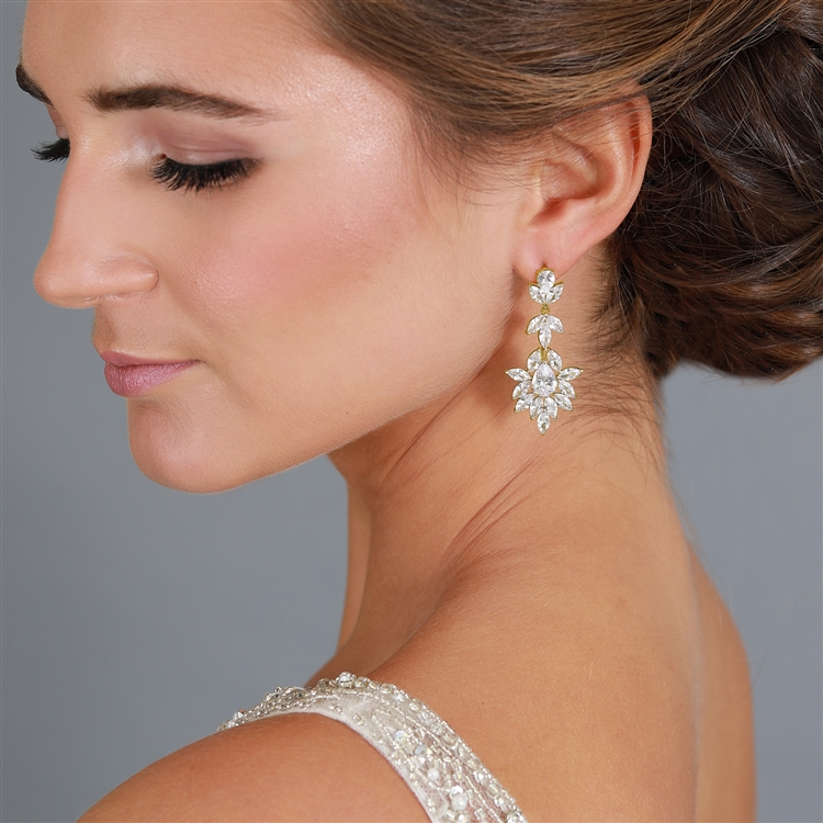 14K Gold Plated Dangle Wedding Earrings for Brides