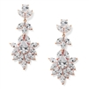 Rose Gold Plated Dangle Wedding Earrings for Bride