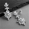 Platinum Silver Dangle Wedding Earrings for Brides