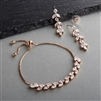 CZ Bracelet & Dangle Earrings Set in Rose Gold wit