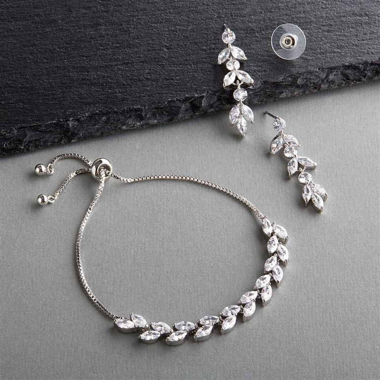 CZ Silver Platinum Bridal Bracelet & Dangle Earrin