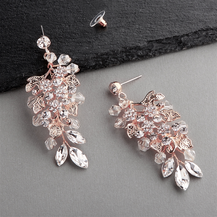 Handmade Rose Gold Statement Earrings for Brides