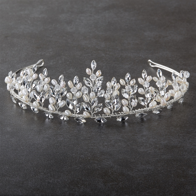 Hand-made Bridal Tiara with Genuine Freshwater Pearls and Crystals on Wire Sprigs