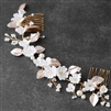 Mariell Floral Design Bridal Hair Vine with Ivory Resin Flowers and Hand Painted Matte Gold Leaves