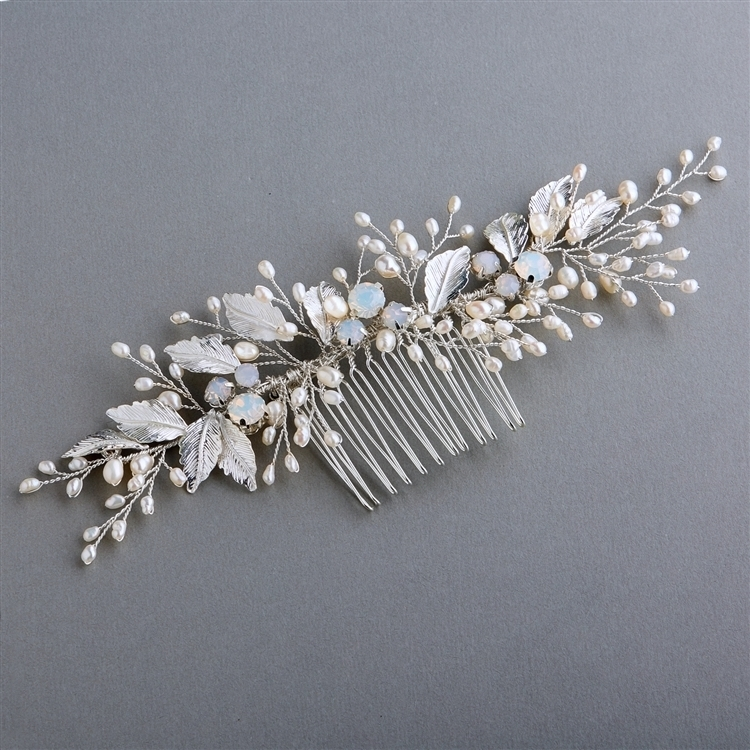 Freshwater Pearl and Opal Bridal Comb