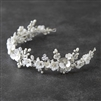 Bridal Tiara with Sculpted Flowers, Matte Silver Leaves, Ivory Pearls and Crystals