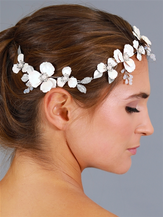 Mariell Floral Design Bridal Hair Vine with Ivory Metal Flowers and Hand Painted Matte Silver Leaves