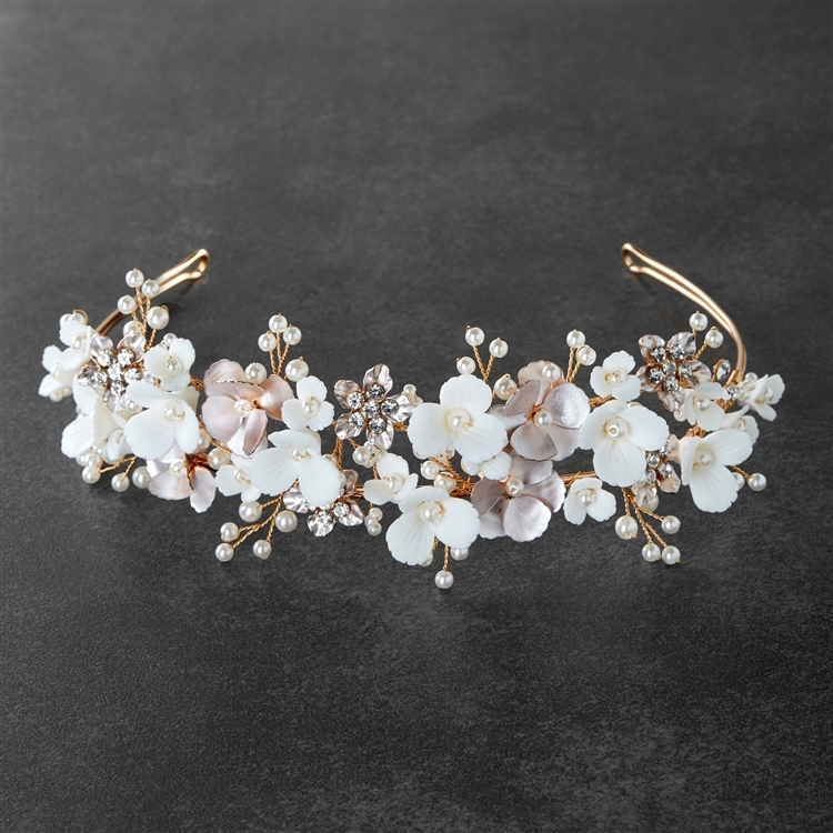 Mariell floral design bridal tiara headband with ivory resin flowers, dainty silver petals and hand painted matte pink leaves, wire loop on ends