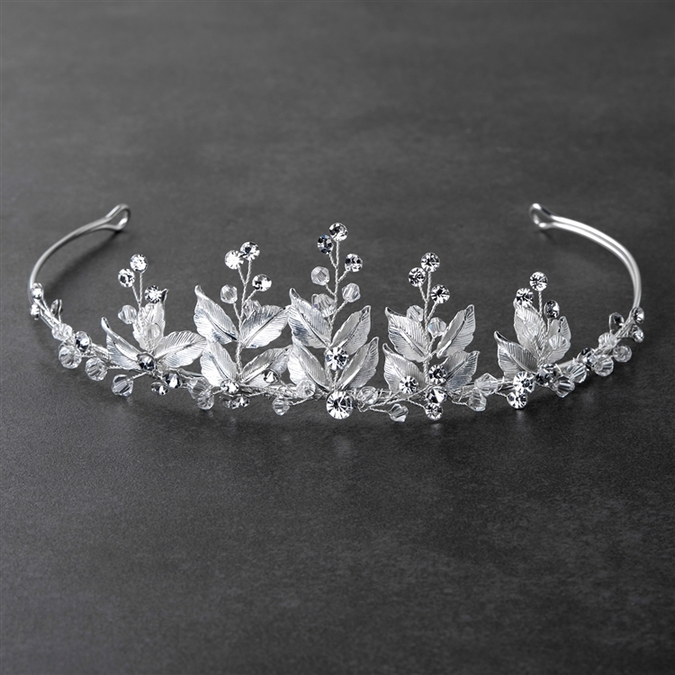 Mariell Bridal Tiara with Crystals and Hand Painted Matte Silver Leaves