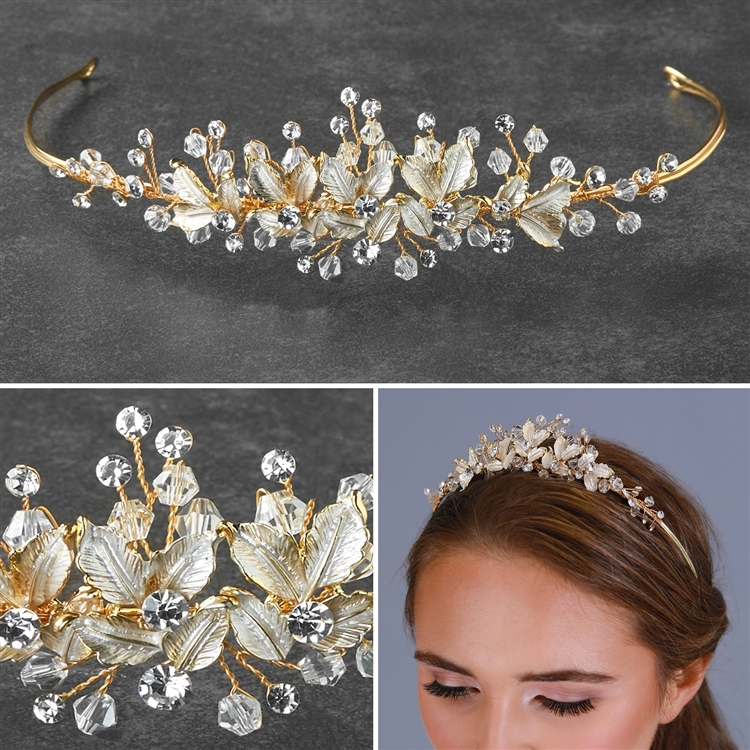 Mariell Bridal Tiara with Crystals and Hand Painted Matte Silvery Gold Leaves