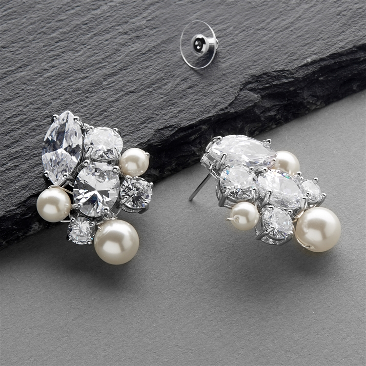 Cubic Zirconia and Mixed Ivory Pearl Hand-Crafted Bridal Earrings<br>4638E-I-S