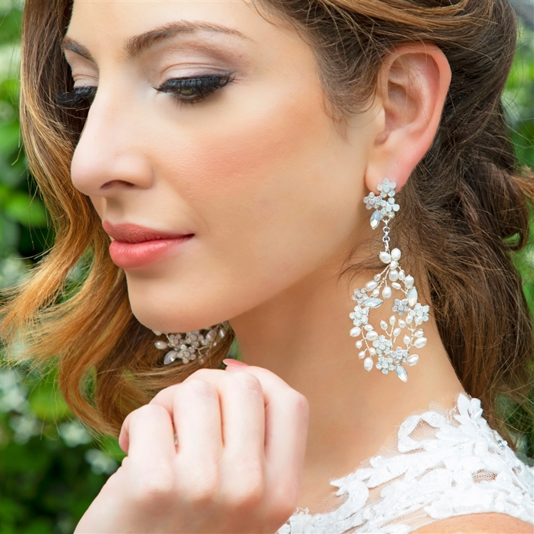 Hand-made Bridal Earrings Opals and Pearl