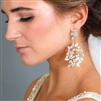 Hand-made Opal and Crystal Gold Bridal Earrings