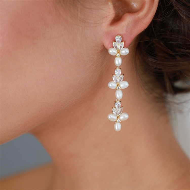 Freshwater Pearls Gold Dangle Bridal Earrings