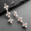 Freshwater Pearls Dangle Rose Bridal Earrings