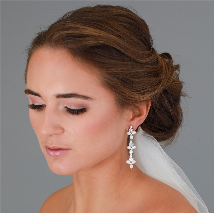 Freshwater Pearls Silver Dangle Bridal Earrings