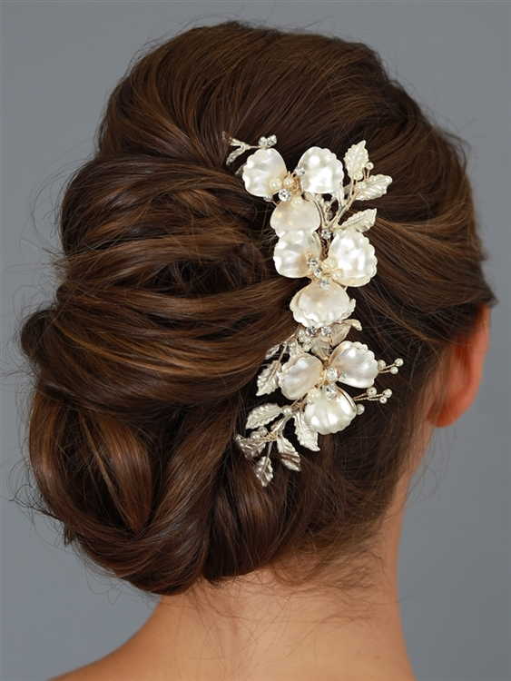 Opulent Multi Layer Matte Gold Floral Wedding Comb with Ivory Pearls and Crystal Accents