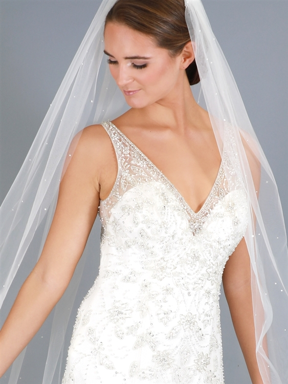 Chapel or Sweep Length 1-Tier Cut Edge Bridal Veil
