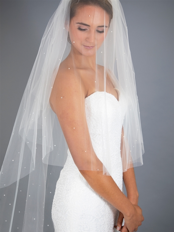 Knee Length 2-Row Pearl Bridal veil with Blusher