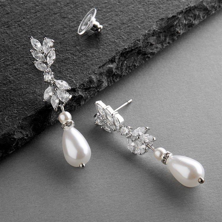Cubic Zirconia and Teardrop Pearl Designer Bridal Earrings<br>4646E-I-S