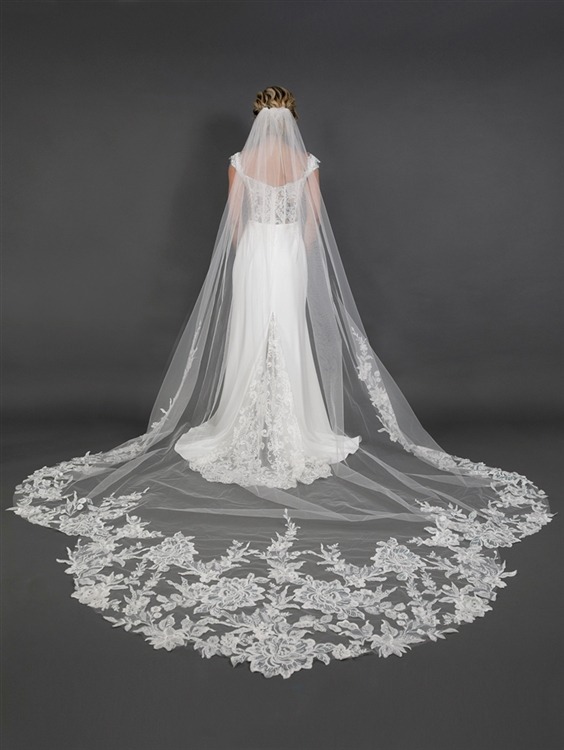 "One Layer Ivory 120"" x 108"" w Royal Cathedral Bridal Veil with Crystal & Sequin Lace Appliqué<br>4647V-I-S"