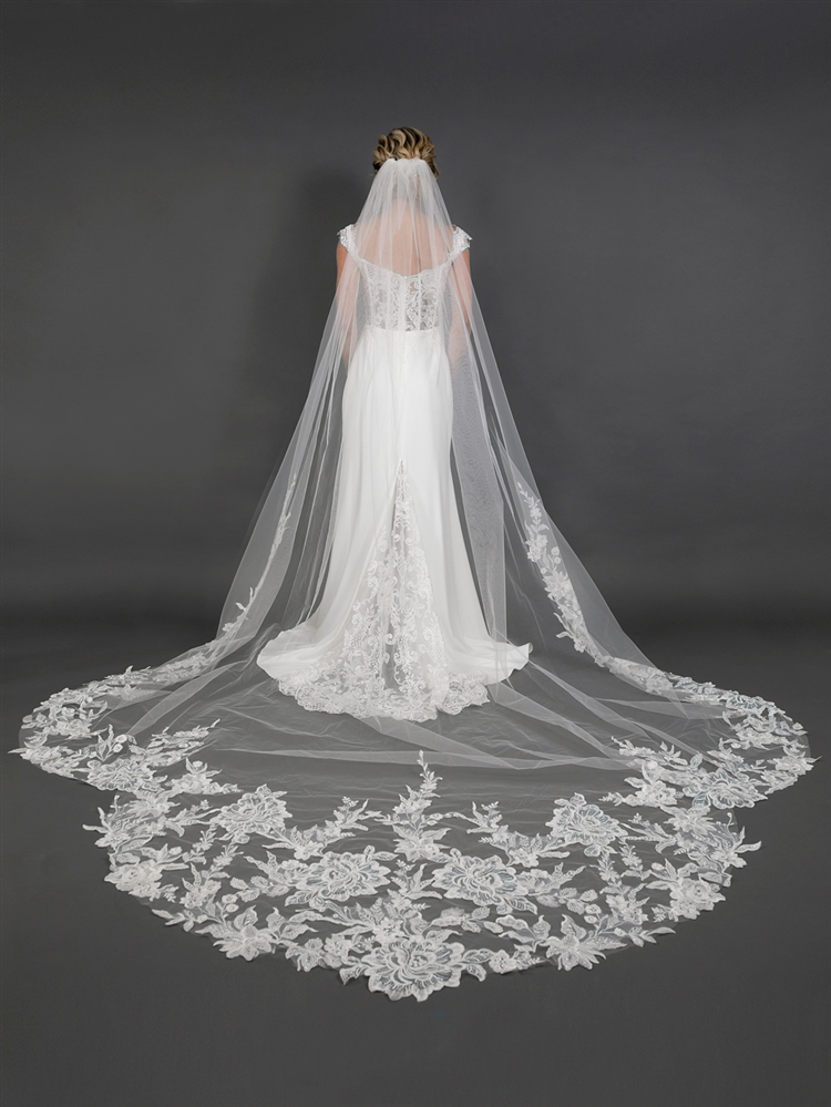 "120"" Long x 108"" Extra Wide Royal Cathedral Bridal Veil with Crystal & Sequin Lace Appliqué<br>4647V-I-S"