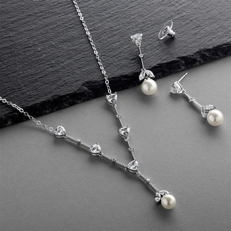 Cubic Zirconia Trillion and Soft White Pearl Bridal Necklace and Earrings Set<br>4648S-W-S