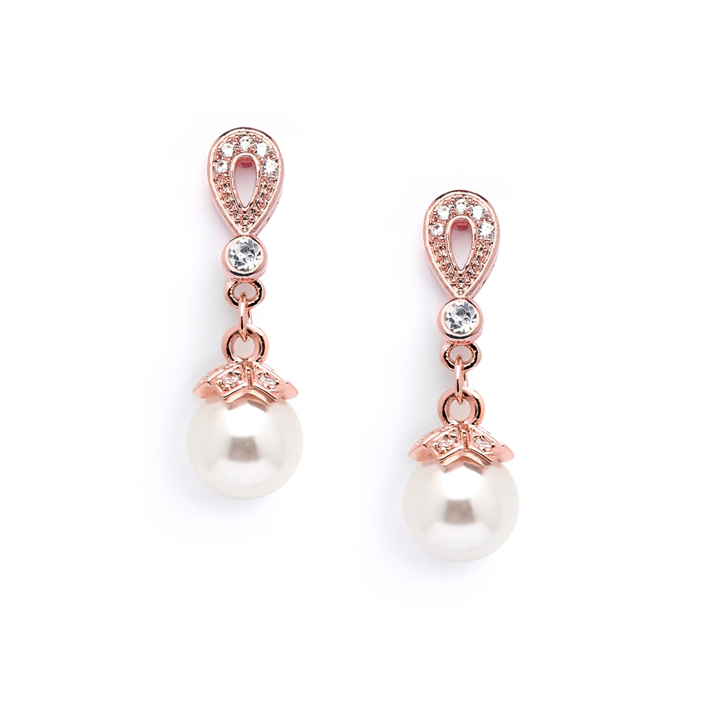 Rose Gold Vintage CZ Pave Bridal Earrings<br>468E-RG