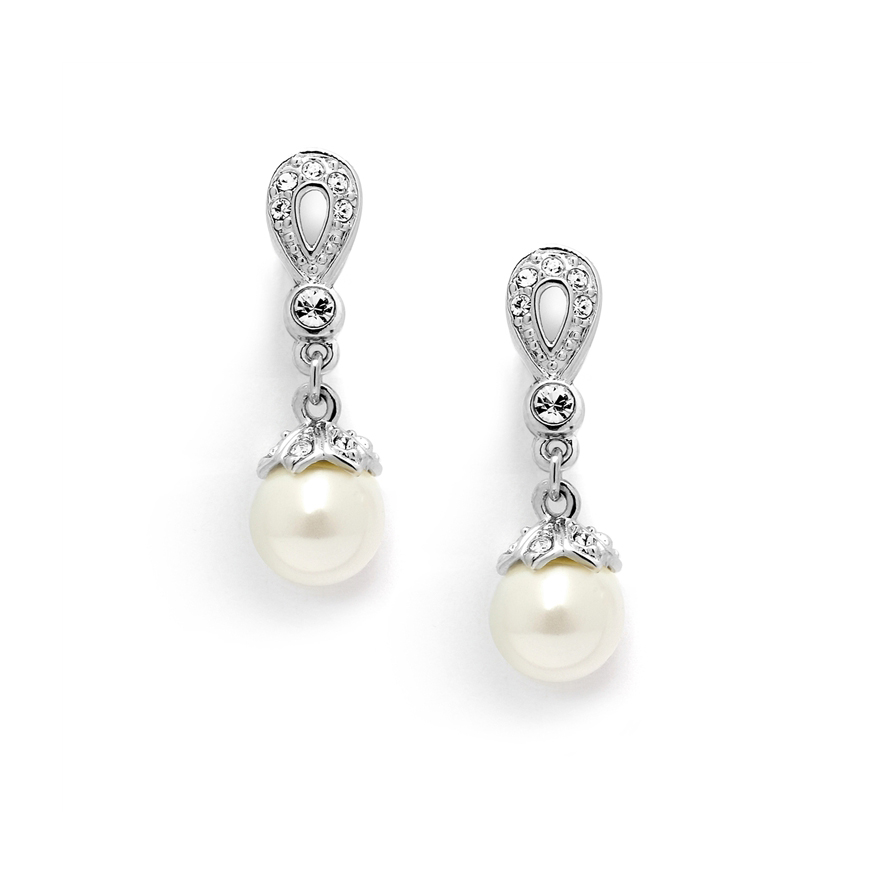 Vintage Pearl Drop Clip On Earrings with Deco CZ Pave<br>468EC