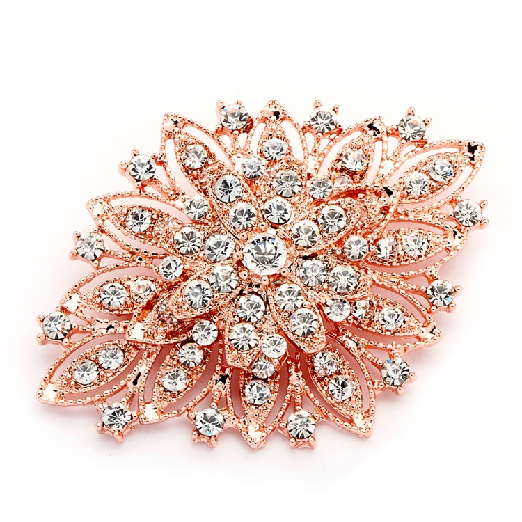 Best Selling Rose Gold Vintage Floral Bridal Brooch<br>471P-RG