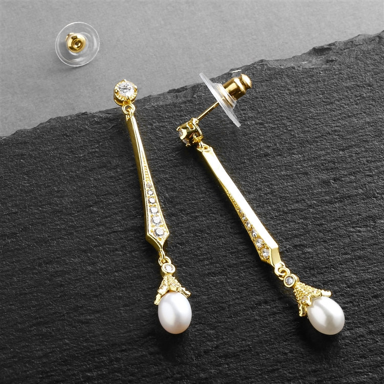 Vintage 14K Gold CZ Dangle Earrings with Freshwater Pearl<br>491E-G