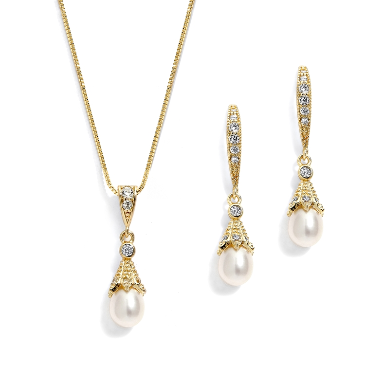 14K Gold Wedding Necklace & Earrings Jewelry Set with Freshwater Pearl<br>491S-G