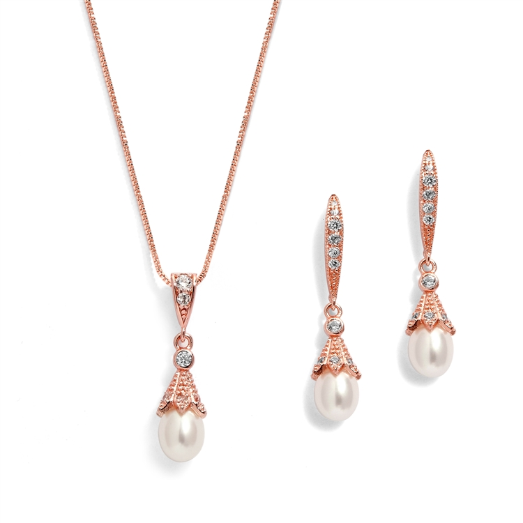 14K Rose Gold Wedding Necklace & Earrings Jewelry Set with Freshwater Pearl<br>491S-RG
