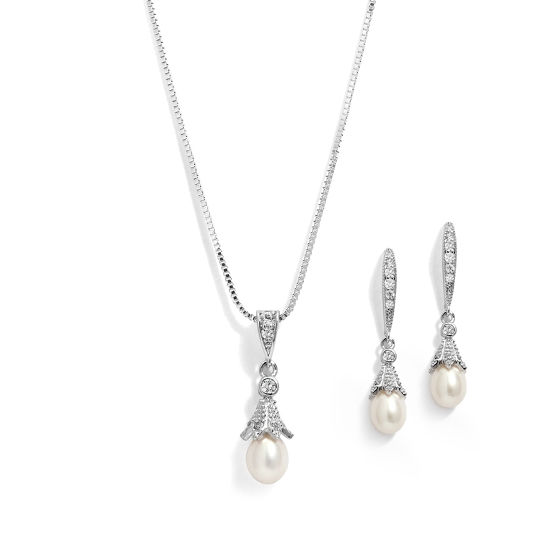 Silver Rhodium Plated Necklace & Earrings Jewelry Set with Freshwater Pearl<br>491S-S