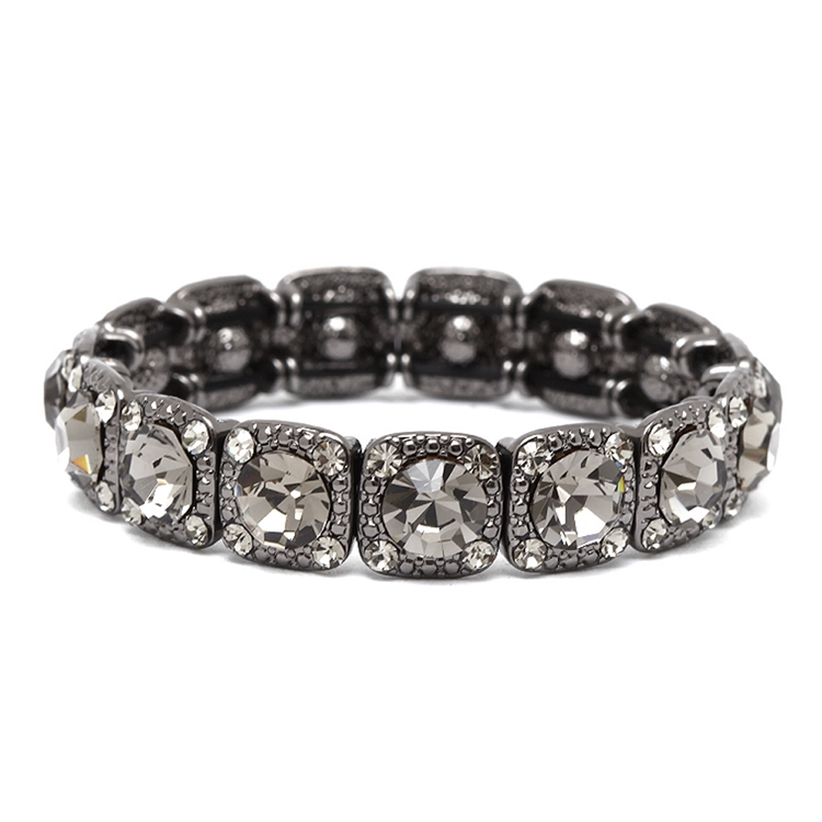Bridesmaid or Prom Stretch Bracelet with Black Diamond Crystals<br>532B-BD