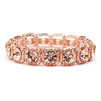 Rose-Gold Coral Color Bridal or Prom Stretch Bracelet with Crystals<br>532B-RG