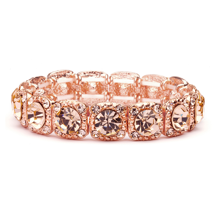rose gold coral color bridal or prom stretch bracelet with crystals 532b rg