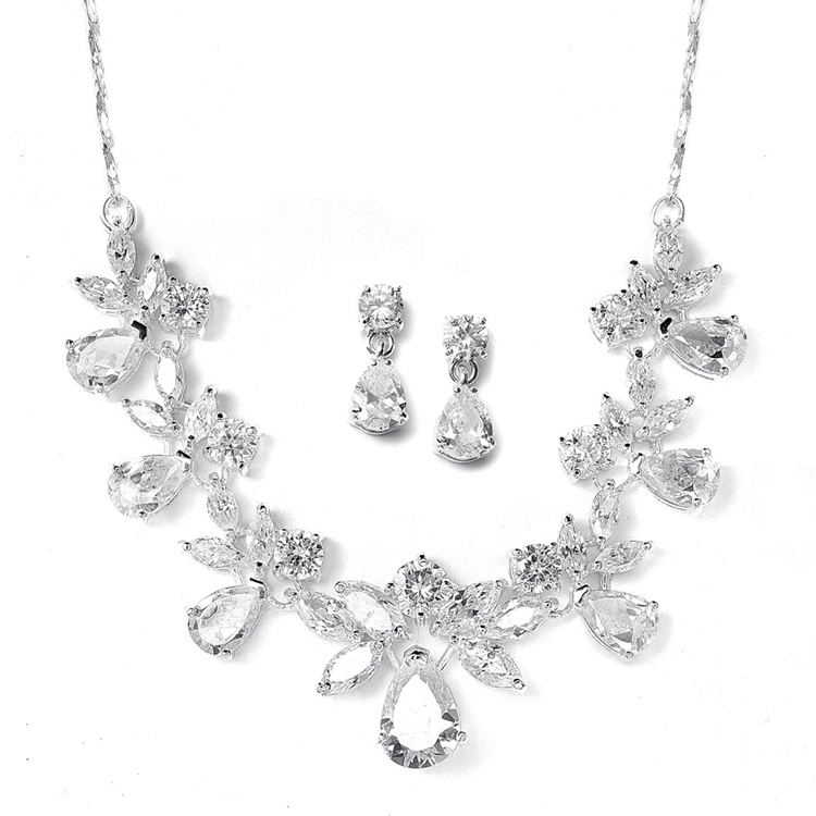Multi Pear Shaped CZ Necklace Set with Delicate Chain<br>578S