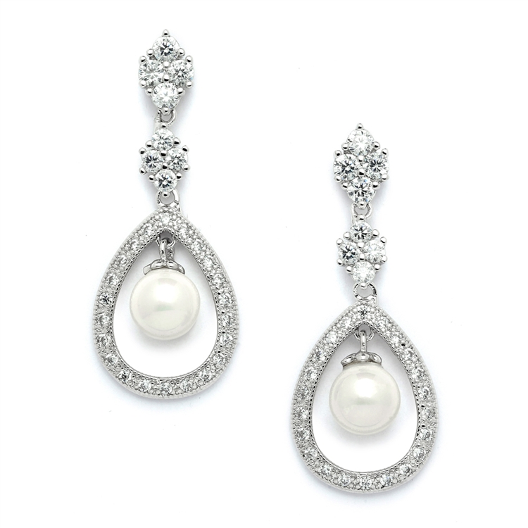 Pave CZ Wedding Earrings with Caged Pearl<br>700E-S
