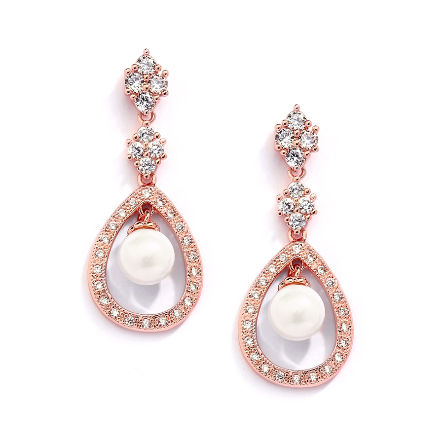 Rose Gold CZ Wedding Clip Earrings with Caged Pearl<br>700EC-RG