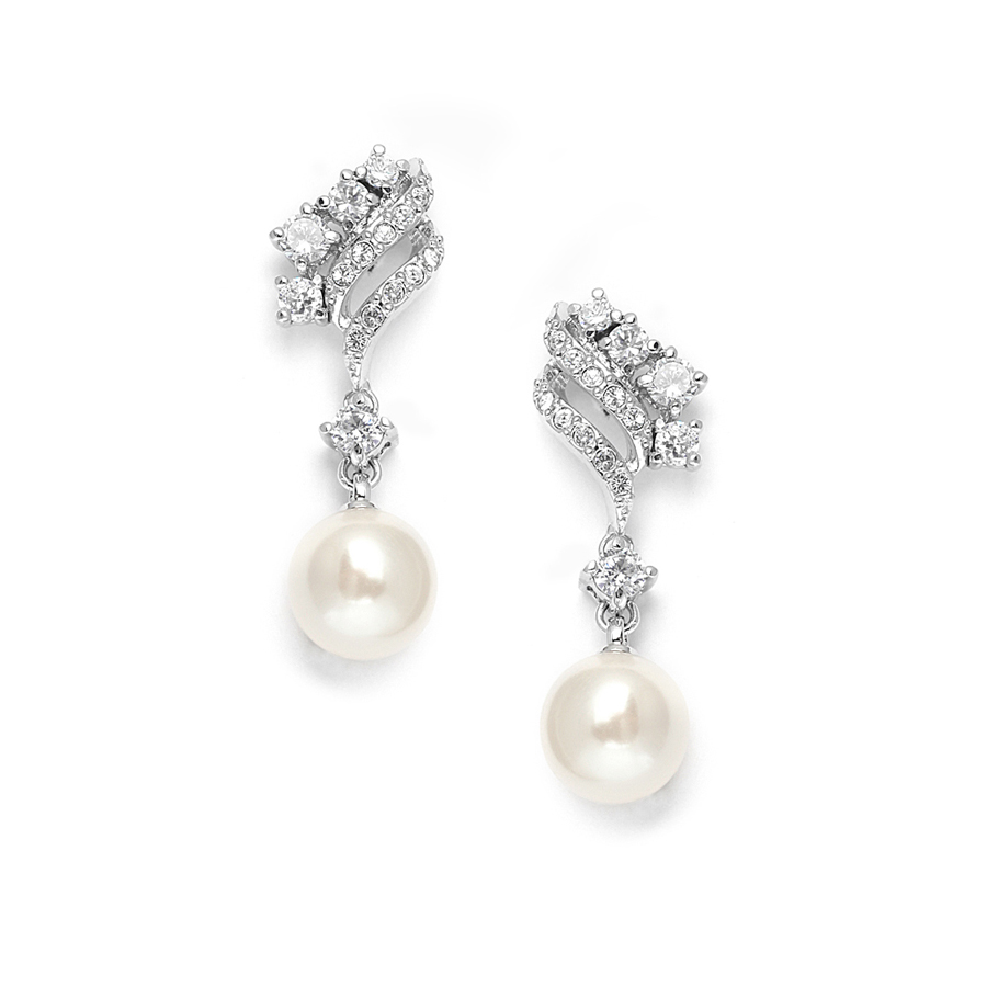 Cubic Zirconia Waves Wedding Earrings with Cream Pearls<br>705E
