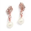 Cubic Zirconia Wedding Earrings with Ivory Pearls<br>705E-RG