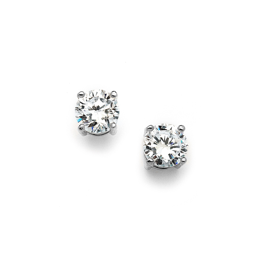 8mm Round 2 Carat Cubic Zirconia Stud Earrings<br>708E-CR