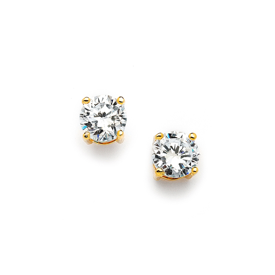 8mm Gold Round Cubic Zirconia Stud Earrings<br>708E-CR-G