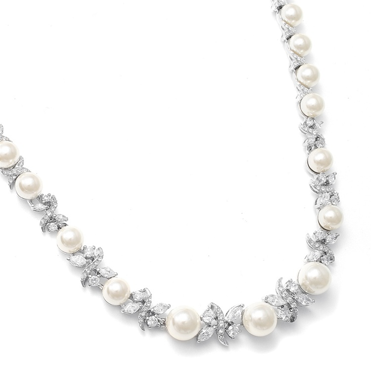 Luxurious Pearl and CZ Bridal Necklace<br>723N