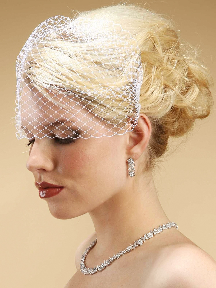 French Netting Birdcage Visor Veil - White<br>726FV-W